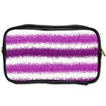 Metallic Pink Glitter Stripes Toiletries Bags Front
