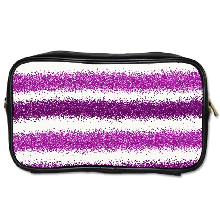 Metallic Pink Glitter Stripes Toiletries Bags