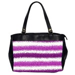Metallic Pink Glitter Stripes Office Handbags (2 Sides)  Front