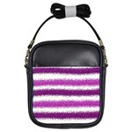 Metallic Pink Glitter Stripes Girls Sling Bags Front