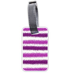 Metallic Pink Glitter Stripes Luggage Tags (Two Sides)