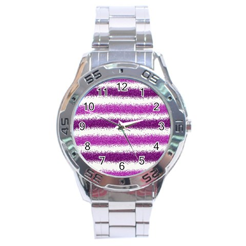 Metallic Pink Glitter Stripes Stainless Steel Analogue Watch