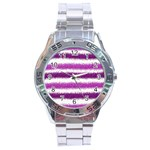 Metallic Pink Glitter Stripes Stainless Steel Analogue Watch Front