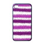 Metallic Pink Glitter Stripes Apple iPhone 4 Case (Black) Front