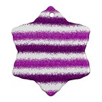 Metallic Pink Glitter Stripes Ornament (Snowflake)  Front