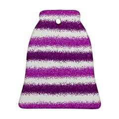 Metallic Pink Glitter Stripes Ornament (Bell)