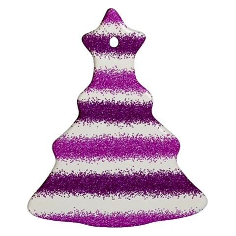Metallic Pink Glitter Stripes Christmas Tree Ornament (2 Sides)