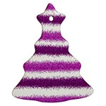 Metallic Pink Glitter Stripes Christmas Tree Ornament (2 Sides) Front