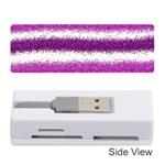 Metallic Pink Glitter Stripes Memory Card Reader (Stick)  Front
