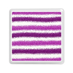 Metallic Pink Glitter Stripes Memory Card Reader (Square)