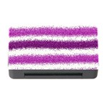 Metallic Pink Glitter Stripes Memory Card Reader with CF Front
