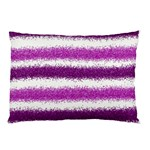 Metallic Pink Glitter Stripes Pillow Case (Two Sides) Front