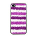 Metallic Pink Glitter Stripes Apple iPhone 4 Case (Clear) Front