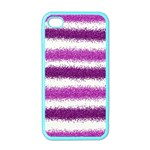 Metallic Pink Glitter Stripes Apple iPhone 4 Case (Color) Front