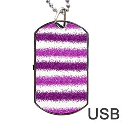 Metallic Pink Glitter Stripes Dog Tag USB Flash (One Side)