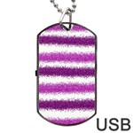 Metallic Pink Glitter Stripes Dog Tag USB Flash (One Side) Front