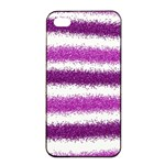 Metallic Pink Glitter Stripes Apple iPhone 4/4s Seamless Case (Black) Front
