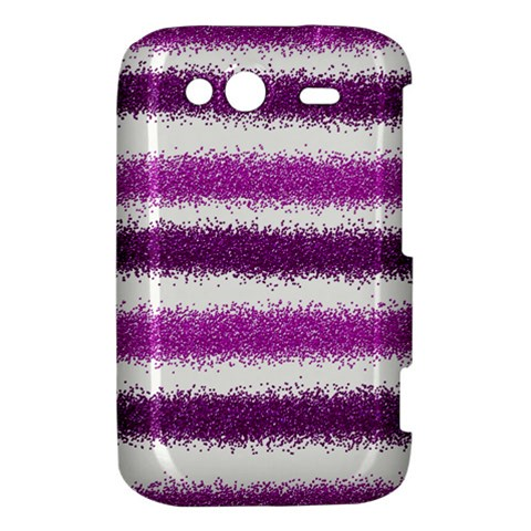 Metallic Pink Glitter Stripes HTC Wildfire S A510e Hardshell Case