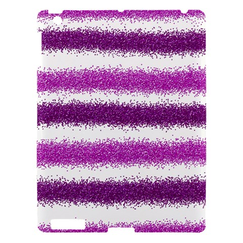 Metallic Pink Glitter Stripes Apple iPad 3/4 Hardshell Case