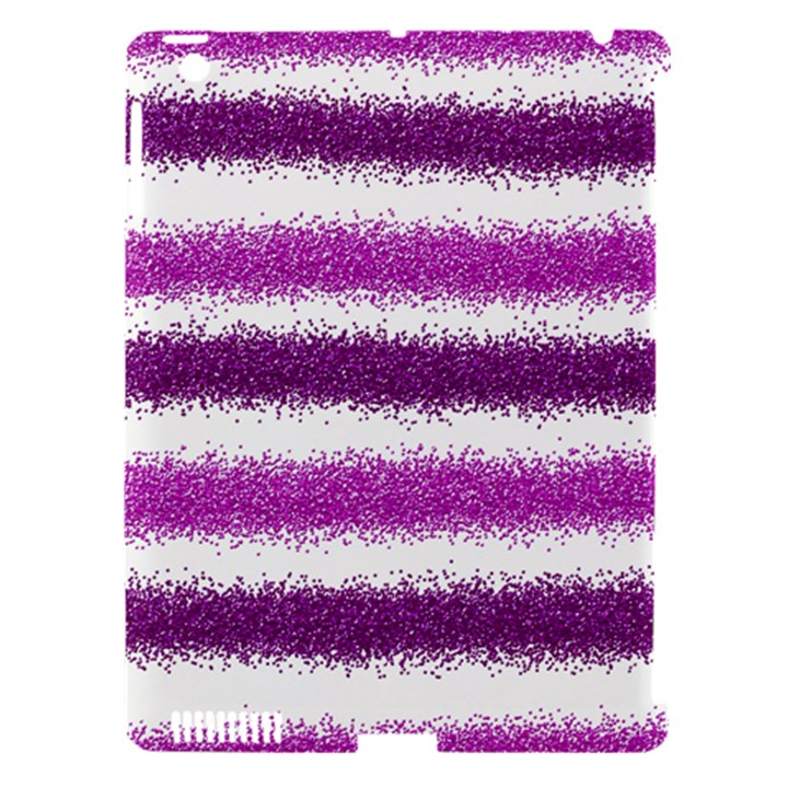 Metallic Pink Glitter Stripes Apple iPad 3/4 Hardshell Case (Compatible with Smart Cover)