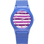 Metallic Pink Glitter Stripes Round Plastic Sport Watch (S) Front