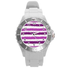 Metallic Pink Glitter Stripes Round Plastic Sport Watch (L)