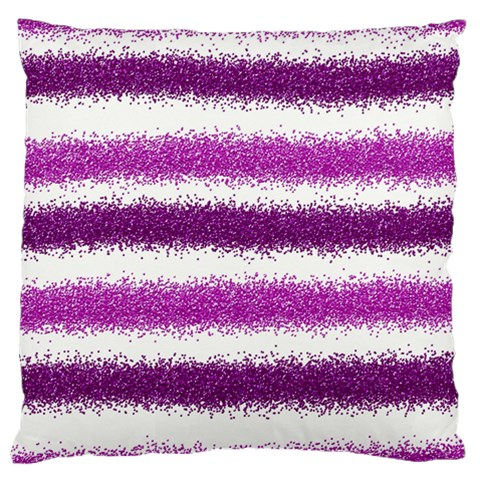 Metallic Pink Glitter Stripes Large Cushion Case (One Side)