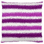 Metallic Pink Glitter Stripes Large Cushion Case (Two Sides) Front