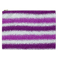 Metallic Pink Glitter Stripes Cosmetic Bag (XXL)