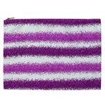 Metallic Pink Glitter Stripes Cosmetic Bag (XXL)  Front