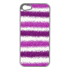 Metallic Pink Glitter Stripes Apple iPhone 5 Case (Silver)