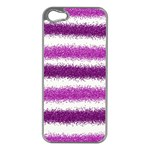 Metallic Pink Glitter Stripes Apple iPhone 5 Case (Silver) Front