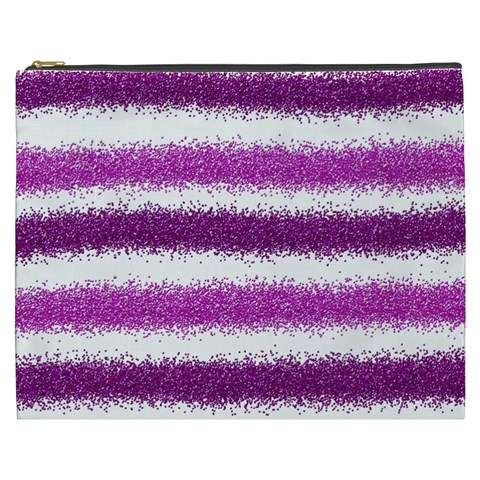 Metallic Pink Glitter Stripes Cosmetic Bag (XXXL)