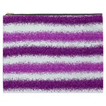 Metallic Pink Glitter Stripes Cosmetic Bag (XXXL)  Front