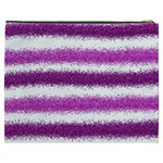 Metallic Pink Glitter Stripes Cosmetic Bag (XXXL)  Back