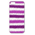 Metallic Pink Glitter Stripes Apple Seamless iPhone 5 Case (Clear) Front