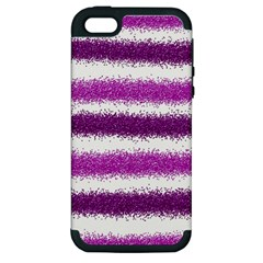 Metallic Pink Glitter Stripes Apple iPhone 5 Hardshell Case (PC+Silicone)