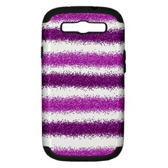 Metallic Pink Glitter Stripes Samsung Galaxy S III Hardshell Case (PC+Silicone)