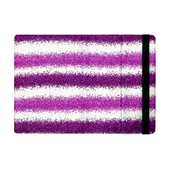 Metallic Pink Glitter Stripes Apple iPad Mini Flip Case