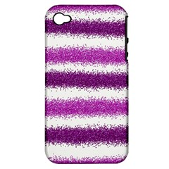 Metallic Pink Glitter Stripes Apple iPhone 4/4S Hardshell Case (PC+Silicone)