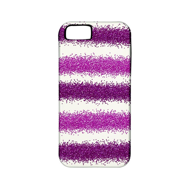 Metallic Pink Glitter Stripes Apple iPhone 5 Classic Hardshell Case (PC+Silicone)