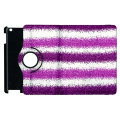 Metallic Pink Glitter Stripes Apple iPad 3/4 Flip 360 Case