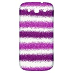Metallic Pink Glitter Stripes Samsung Galaxy S3 S III Classic Hardshell Back Case Front