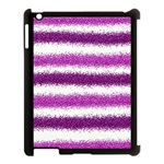 Metallic Pink Glitter Stripes Apple iPad 3/4 Case (Black) Front