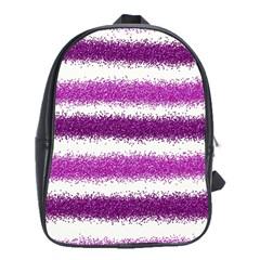 Metallic Pink Glitter Stripes School Bags (XL)