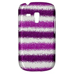 Metallic Pink Glitter Stripes Samsung Galaxy S3 MINI I8190 Hardshell Case