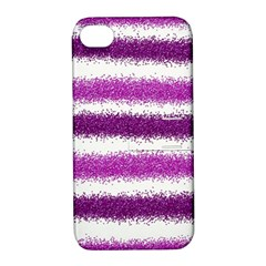 Metallic Pink Glitter Stripes Apple iPhone 4/4S Hardshell Case with Stand