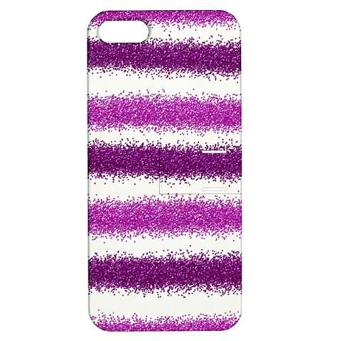 Metallic Pink Glitter Stripes Apple iPhone 5 Hardshell Case with Stand