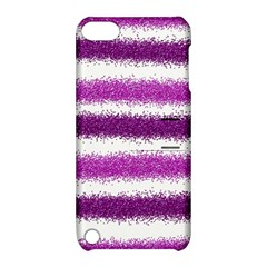Metallic Pink Glitter Stripes Apple iPod Touch 5 Hardshell Case with Stand