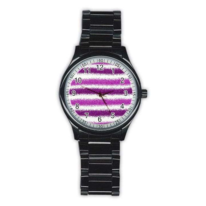Metallic Pink Glitter Stripes Stainless Steel Round Watch